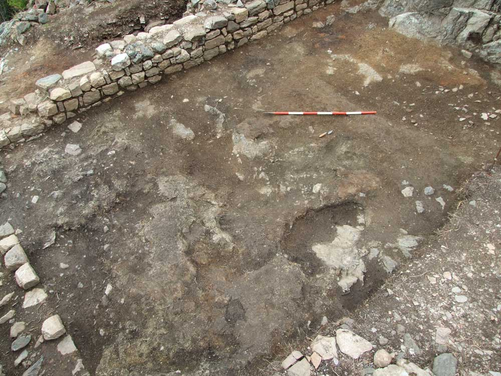 fig.4. Il pavimento in malta e terra battuta dell'edificio che occupò l'Area 9500 tra il pieno XIV e il XVI secolo.