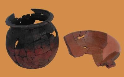Fig.c. Olla per la cottura di zuppe e minestre e tegame invetriato per la preparazione di cibi semiliquidi  dai contesti della Brina di XIII-inizi XIV secolo.