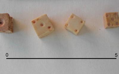 Fig. f. Dadi da gioco in osso dai contesti della seconda metà XIII-inizi XIV secolo.