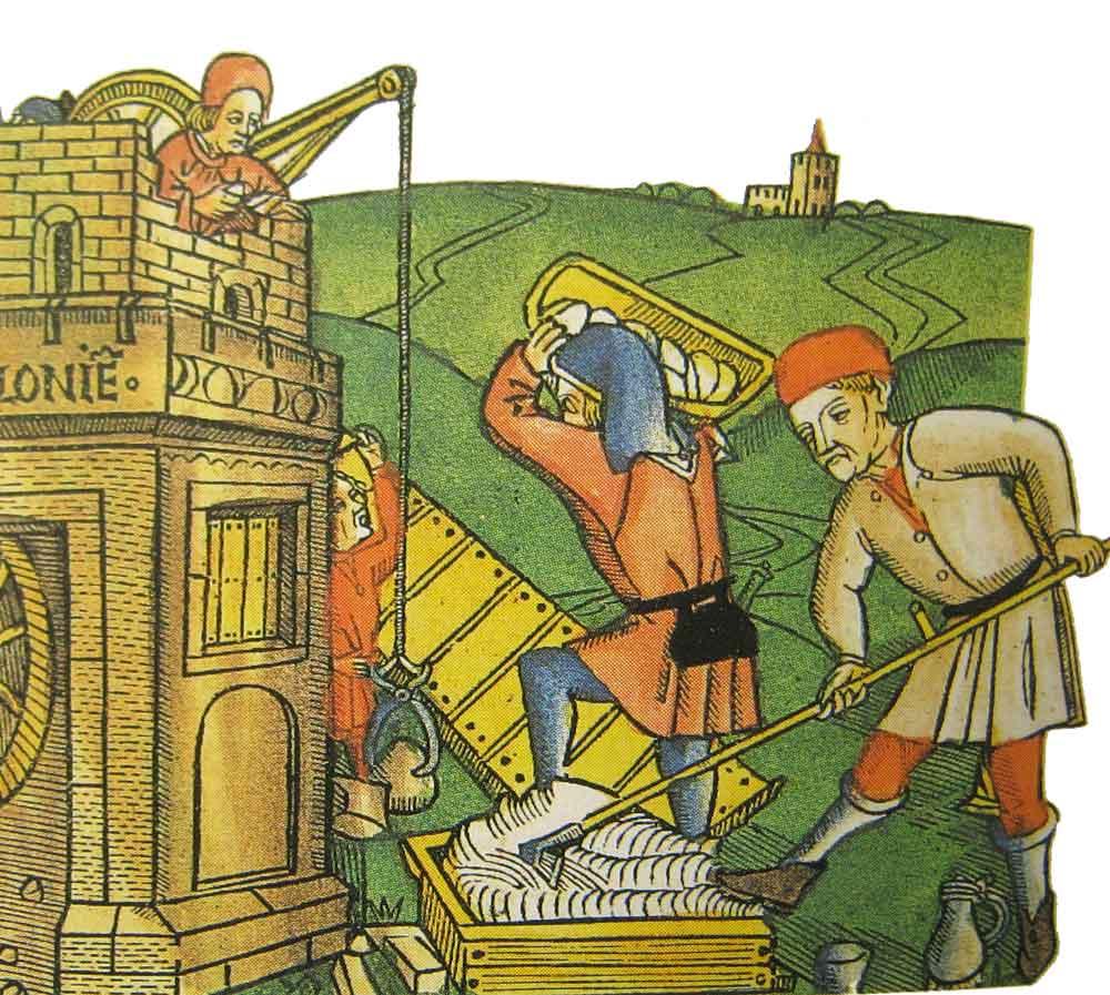 fig.5. Immagine medievale che mostra un operao intento alla miscelazione della malta con l'uso di una marra in una vasca di legno.