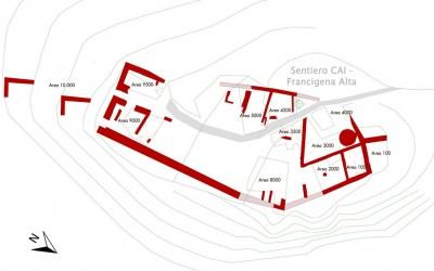 Fig.11. Planimetria del castello della Brina al termine della campagna di ricerche 2010, con indicazione   delle diverse aree di indagine.