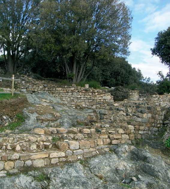 fig.11. Resti della rocca della Brina visti dal sentiero che si immette nell'area archeologica.