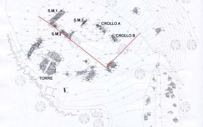 Fig.1. Rilievo dei principali setti murari e dei crolli delle strutture realizzato al termine della   ricognizione di superficie.