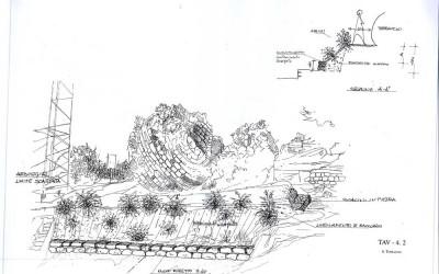 """fig.5. Disegno progettuale della sistemazione del sito nell'area del """"torraccio"""", realizzato   dall'Architetto Roberto Guelfi."""