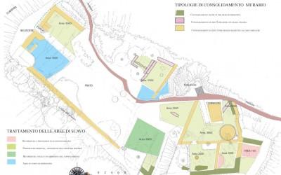 fig.7. Tavola progettuale con indicazione degli interventi di consolidamento sulle murature da  realizzare nell'area archeologica della Brina.