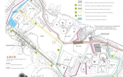 fig.8. Tavola progettuale con mappatura degli interventi di consolidamento delle sezioni di scavo e di   strutturazione del percorso di visita nell'area archeologica della Brina.