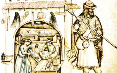 Fig.c. Pellegrino raffigurato in uno dei tacuina sanitatis del XIV secolo.