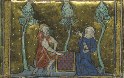 Fig.f. Dama in conversazione mentre tiene in braccio il cane da compagnia (Morte Artu, 1315-1325   circa, Royal MS 14 E. iii, British Library, London).