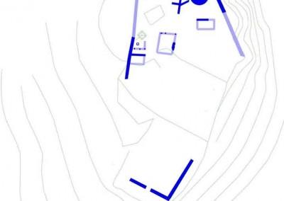 fig.1. Planimetria con l'indicazione delle strutture in murature e in tecnica mista costruite tra fine X e XI secolo.