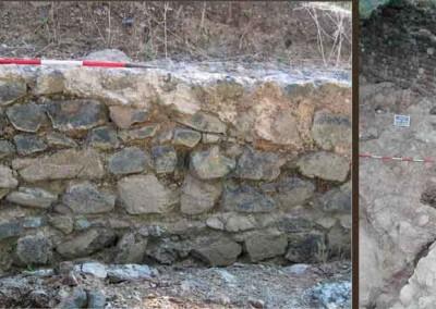 fig.4a. Il muro di cinta del castello costruito intorno al Mille con la pietra locale, la peridotite (Area 1000).