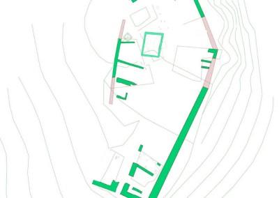 fig.9. Planimetria con l'indicazione delle strutture del castello della Brina dopo le risistemazioni occorse tra fine XI e XII secolo.
