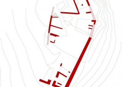 fig.1. Planimetria con l'indicazione delle strutture castellane dopo le ristrutturazioni tardo-ducentesche.