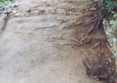 fig.3. Sullo sfondo della fotografia un muro di pietre legato a secco costruito sui depositi naturali di epoca recente, forse per recinzione di un'area di pascolo temporanea (Area 3000).