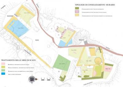 fig.2. Il progetto di consolidamento delle murature e di sistemazione dell'area archeologica finanziato dalla Regione Liguria nell'ambito dei fondi POR-FESR (Studio Associato Ghelfi e Scarponi Architetti).