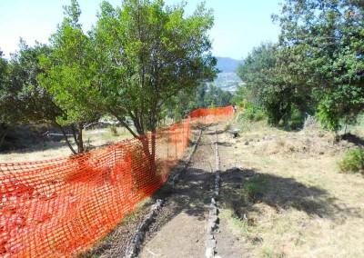 fig.3. Il cantiere di restauro e la sistemazione del percorso nel sito della Brina (Studio Associato Guelfi e Scarponi Architetti e Cooperativa Archeologia).