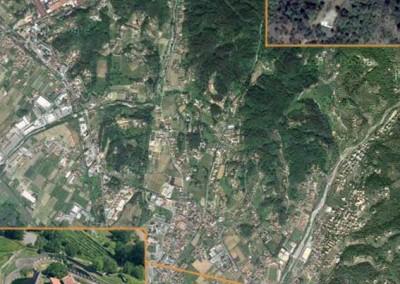 fig.4. Foto area della zona intorno a Sarzana con la localizzazione della Brina e di Sarzanello.